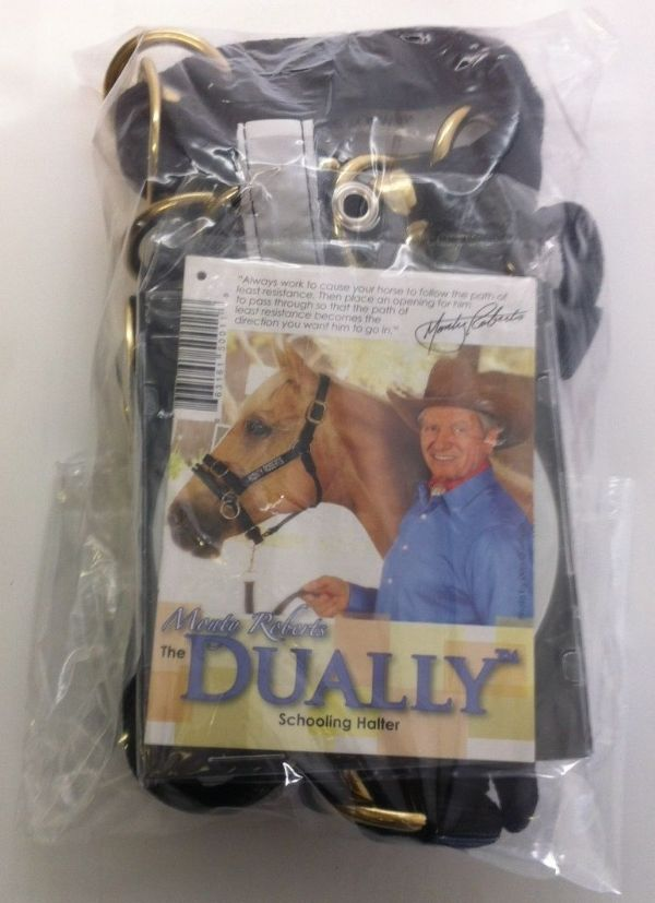 Monty Roberts Dually Schooling Halter Medium Black Nylon Headcollar with how to use it DVD